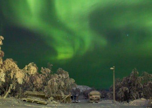 Noorderlicht in de buurt van Camp Ripan in Kiruna