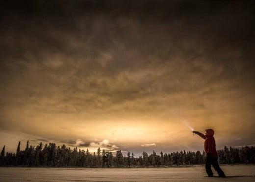 Het Noorderlicht in Zweeds Lapland