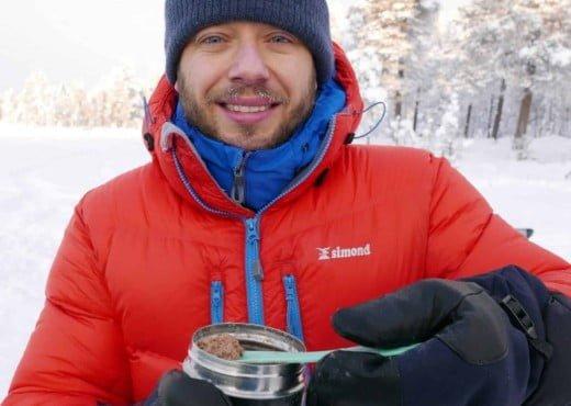 Eten tijdens de Expedition Experience in Noord Zweden