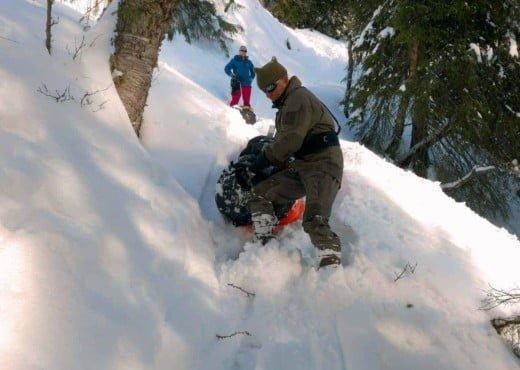 Afdaling tijdens de Heroes of Telemark expeditie in de Hardangervidda