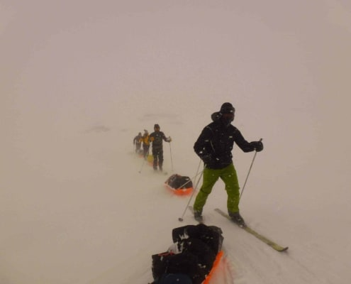 Expeditie in Noorwegen in een white out