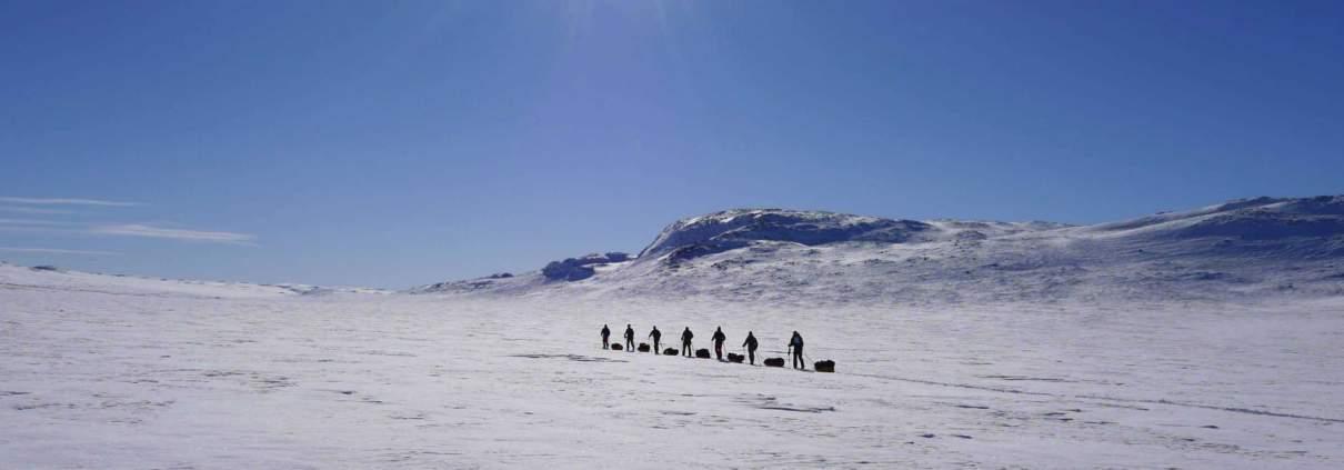 Manhauling in Hardangervidda, Noorwegen