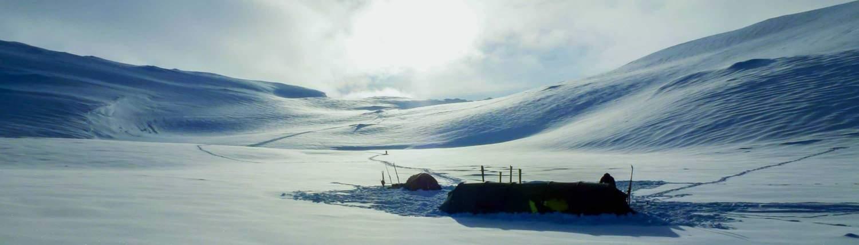 Tent opgezet in de Hardangervidda, Noorwegen