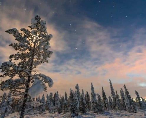 Zonsondergang in Zweeds Lapland