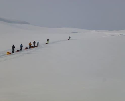 Groep aan het toerlanglaufen in de Hardangervidda